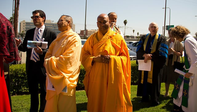 Advisors Gather: L- Swami Sarvadevananda, Hollywood Vedanta Society R- Venerable Bhante Chao Chu, Rosemead Buddhist Monastery