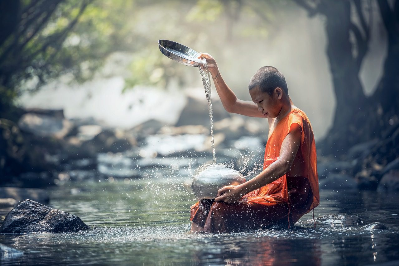 Monk in nature