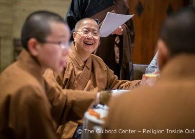 Venerables from Hsi Lai Buddhist Temple enjoy the evening