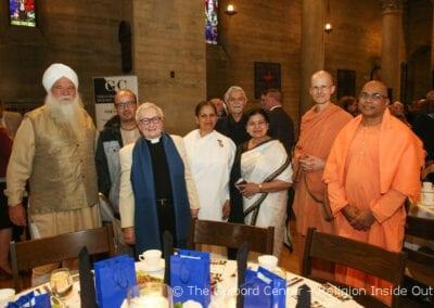 L-R Advisors Nirinjan Singh Khalsa (Sikh), Sura Das (Krishna),Rev. Dr. Guibord, Sister Gita Patel (Brahma Kumaris), Rini Ghosh and Swami Mahayogananda (Vedanta Society) and their guest Swami Tadananda)