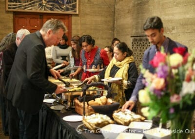 """Guests enjoy a Vegan """"Kindness Meal"""" prepared by Emanate Health"""