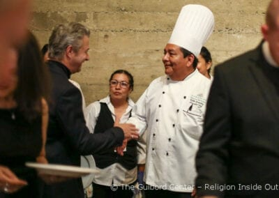 Board Member Jim Baer thanks Emanate Health's Executive Chef Emilio Gonzales at One Heart dinner celebration